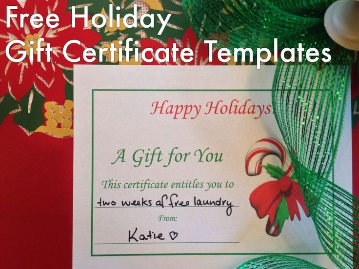 These free personalized printable holiday gift certificate templates allow you to give the gift of you!
