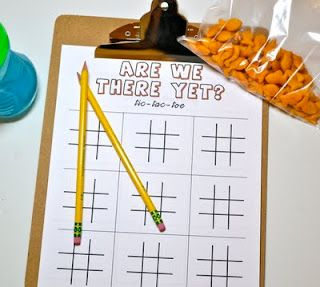 Printable travel games - tic-tac-toe, hangman, license plate game, connect the dots
