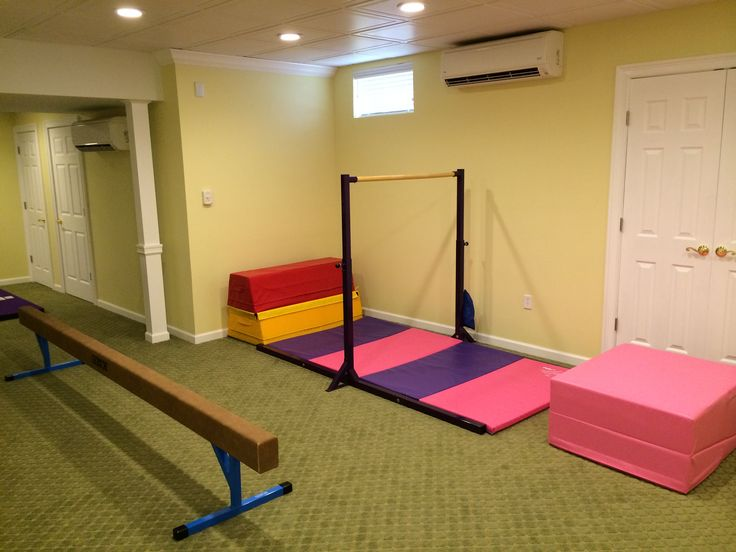 Basement Remodel with a kids gymnastics area.