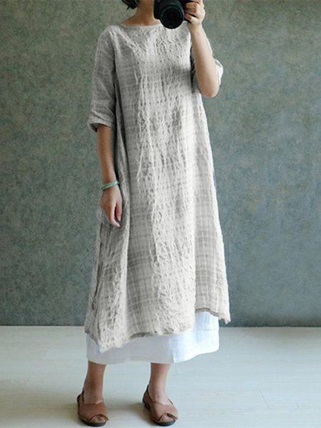 611a6a7f202 Buy Dresses For Women at Popjulia. Online Shopping Popjulia Plus Size Crew  Neck Women Dress Shift Daily Dress Linen Plaid Midi Dress