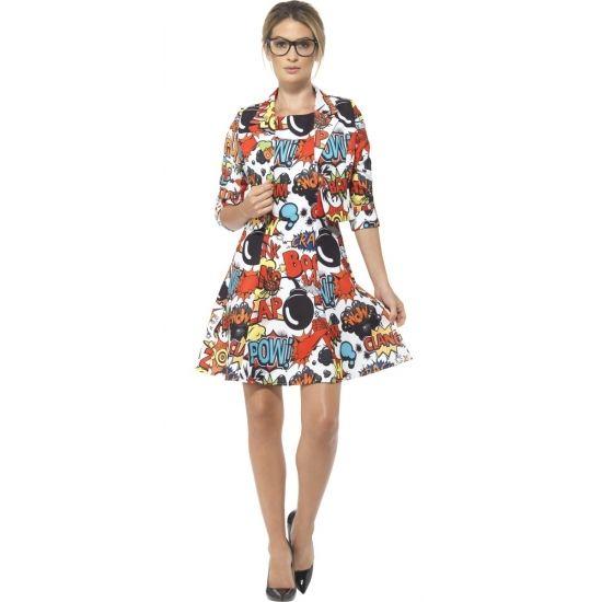 Compleet verkleedkostuum met stripboek print voor dames, bestaande uit een A-lijn jurkje met bijpassende korte blazer. Het kostuum is gemaakt van 100% polyester.