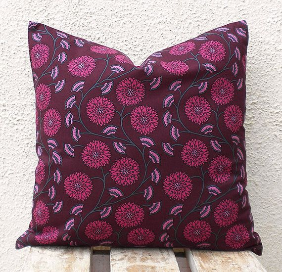Indian Pillow Cushion Covers  Pink Floral Pattern by PillowBazaar, $32.00