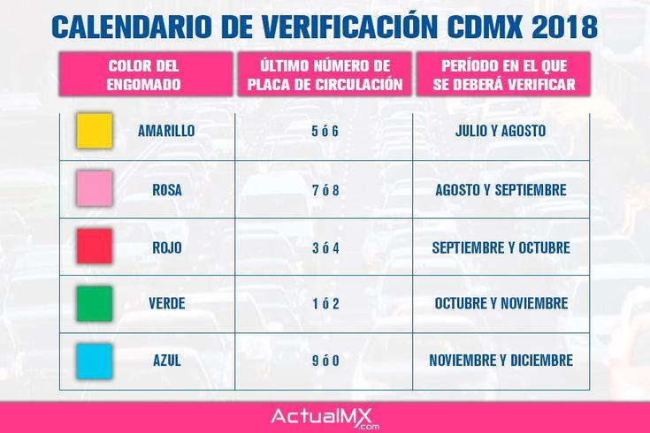 Calendario de verificación vehicular 2018 en la CDMX