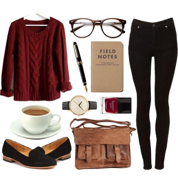 Burgundy paita ja mustat farkut