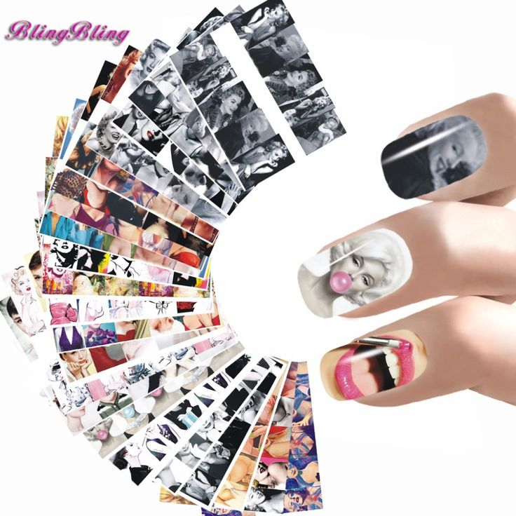 Item Type: Sticker & Decal Model Number: NKS008 Quantity: 24 sheet Material: Water film paper Size: 52*62mm Style: People Designs Brand Name: BlingBling Item Type: Nail Art stickers Name: Monroe Stick