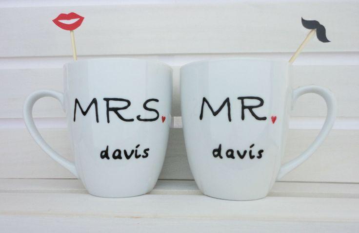 Personalized Wedding Gift Mugs Custom Coffee Mugs - Bridal Shower Gift - Mr and Mrs Mugs August 12 2015 at 10:08PM