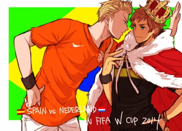 Netherlands and Spain soccer! It's funny because it seems like Spain has this cocky attitude but in reality Netherlands kicked his ass 5-1. ( my friend and I made a bet and I won it so I remember.)
