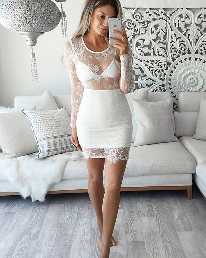 Lace White Tight Scoop Sheer Homecoming Dress with Long Sleeves HD3022
