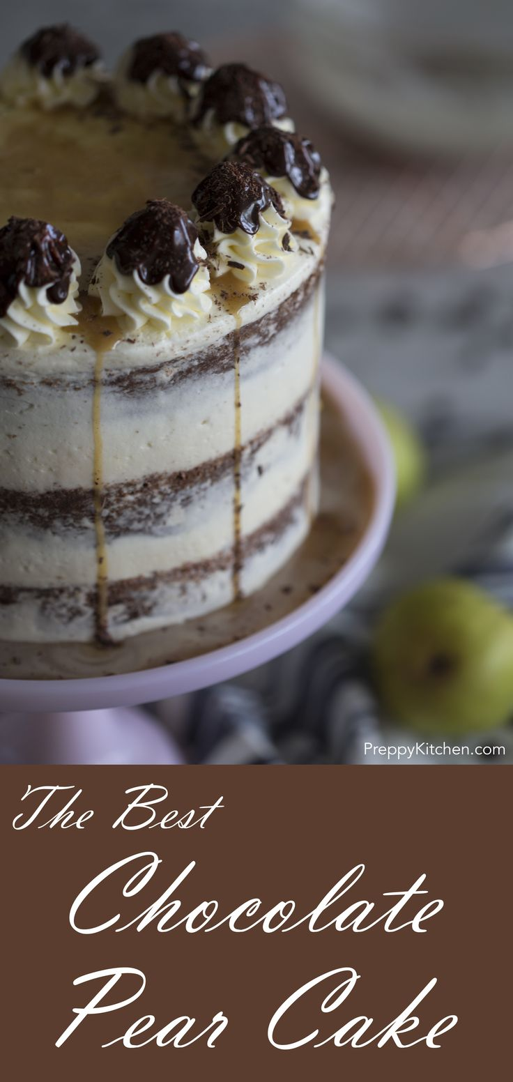 Rich chocolate cake enriched with poached pears smothered in a mascarpone buttercream with a healthy drizzle of chocolate ganache.  via @preppykitchen