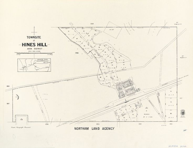 HINES HILL Cadastral map showing land use and zoning. Includes locality plan. Part of collection: Townsite maps, Western Australia. https://encore.slwa.wa.gov.au/iii/encore/record/C__Rb1894486