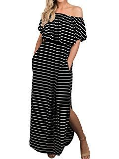 1af2055f577 Womens Off The Shoulder Plus Size Ruffle Summer Casual Maxi Dresses with  Pockets