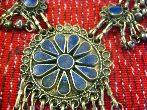 Vintage Iranian Lapis and Coin Silver Gorgeous Statement Necklace. $65.00, via Etsy.