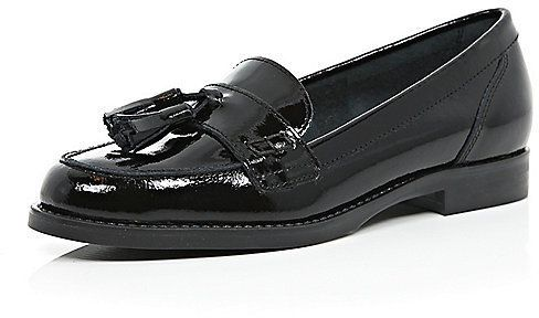 $90, River Island Black Patent Leather Tassel Loafers. Sold by River Island. Click for more info: https://lookastic.com/women/shop_items/327350/redirect