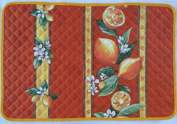 french linen cotton placemat with lemon design in orange
