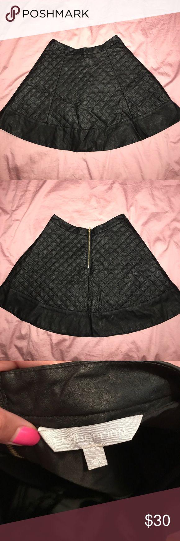 Red herring faux leather skater skirt Black Quilted skater skirt red herring Skirts Circle & Skater