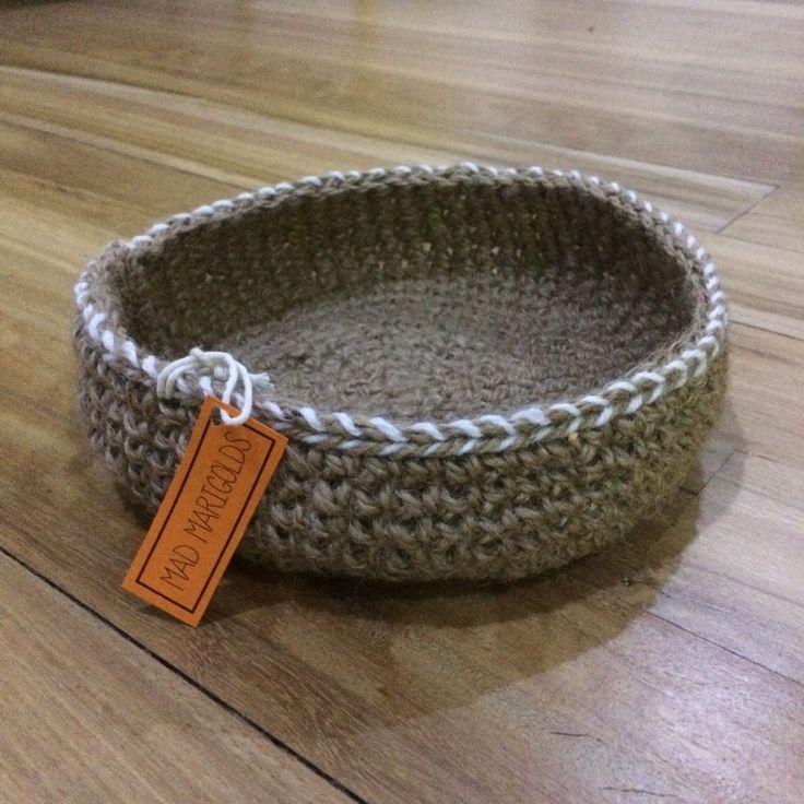 Image of Handmade Crochet Jute Twine Bowl