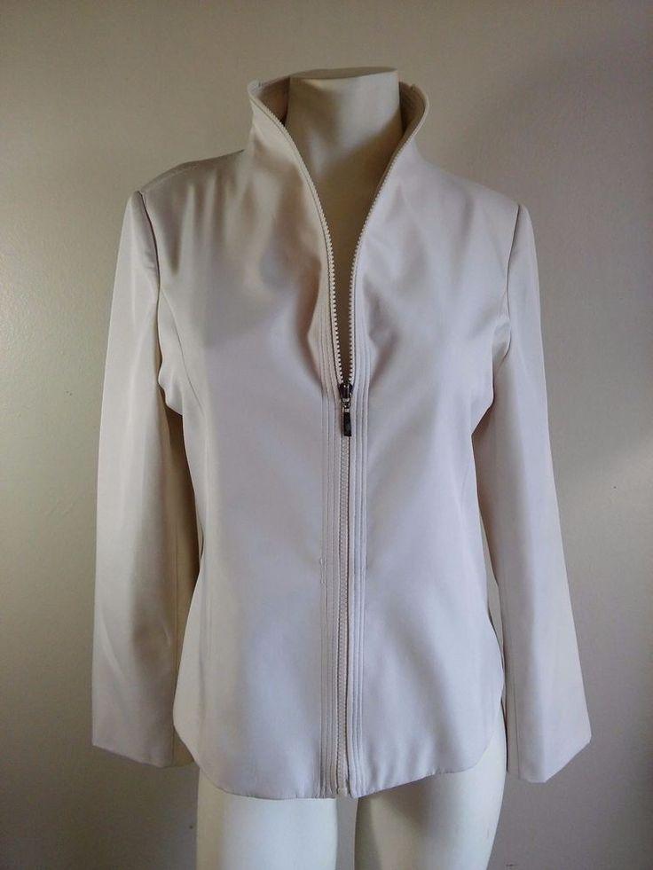 FENDI Cream Color Fully Lined Lightweight Full Zip Up Jacket Women's Size Large #Fendi #BasicJacketBlazerJacketZipUpJacket