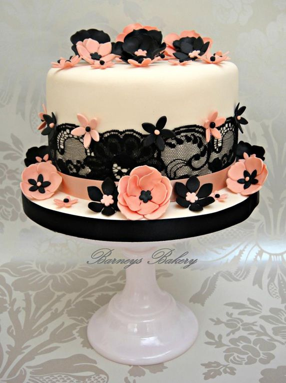 Images Of Beautiful Cake : Beautiful Cake Pictures: Black Lace & Peach Flowers Cake ...