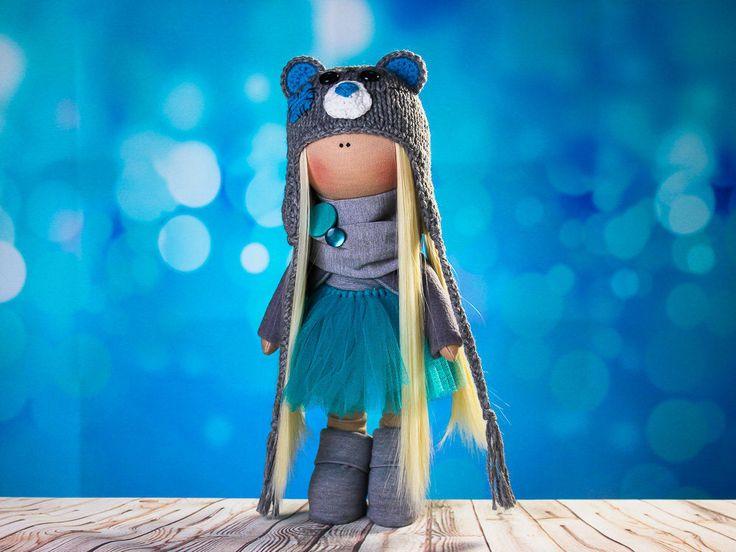Doll Julie. Doll tilda. Сollection Fairy doll. Textile doll. Soft toy. Cute gift. Interior doll. Rag doll. Soft toy. Bear Hat by OwlsUa on Etsy