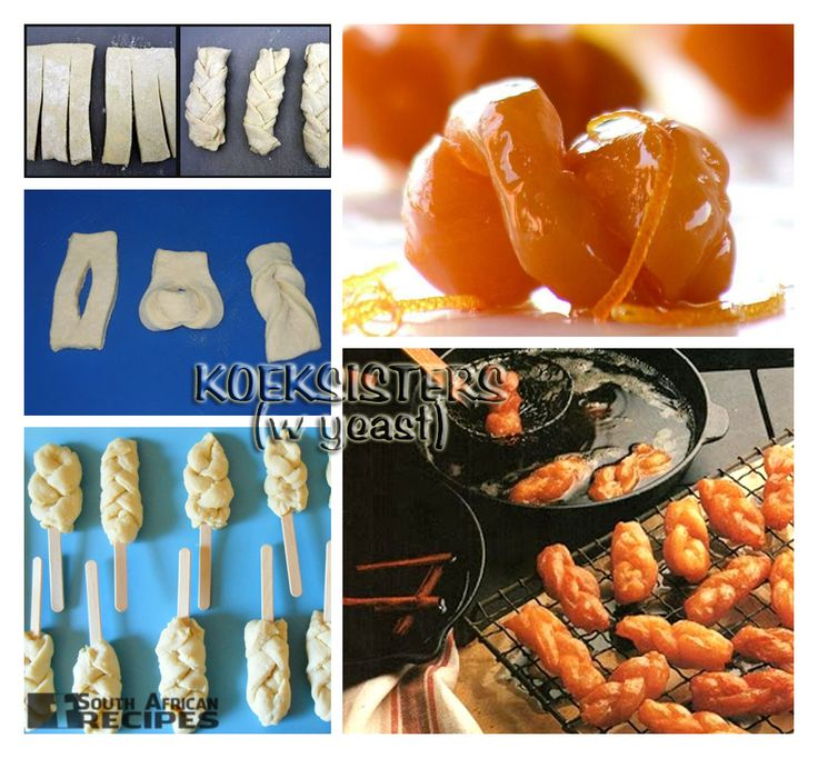 South African Recipes: KOEKSISTERS (with yeast) (The Complete South African Cookbook, pg. 307)  A koeksister is a South African syrup-coated doughnut in a twisted or braided shape (like a plait). It is prepared by deep-frying plaited dough rolls in oil, then dipping the fried dough into cold sugar syrup. Koeksisters are very sticky and sweet and taste like honey.