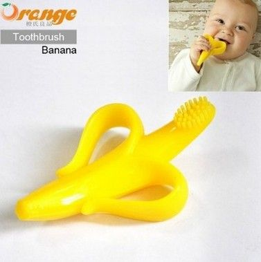 Silicone Banana Teething Toothbrush Baby Teeth Stick Chews Dental Care Baby Teethers for Oral Hygiene | baby care | Bajby.com - is the leading kids clothes, toddlers clothes and baby clothes store.