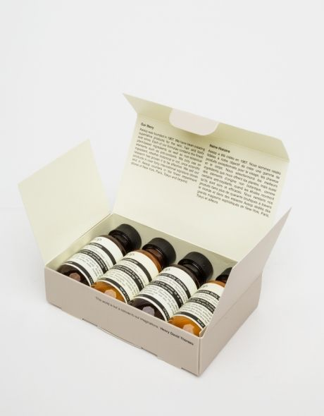 Aesop's Jet Set Kit - a four bottle kit of flight size bath & body essentials for the traveler in your life.