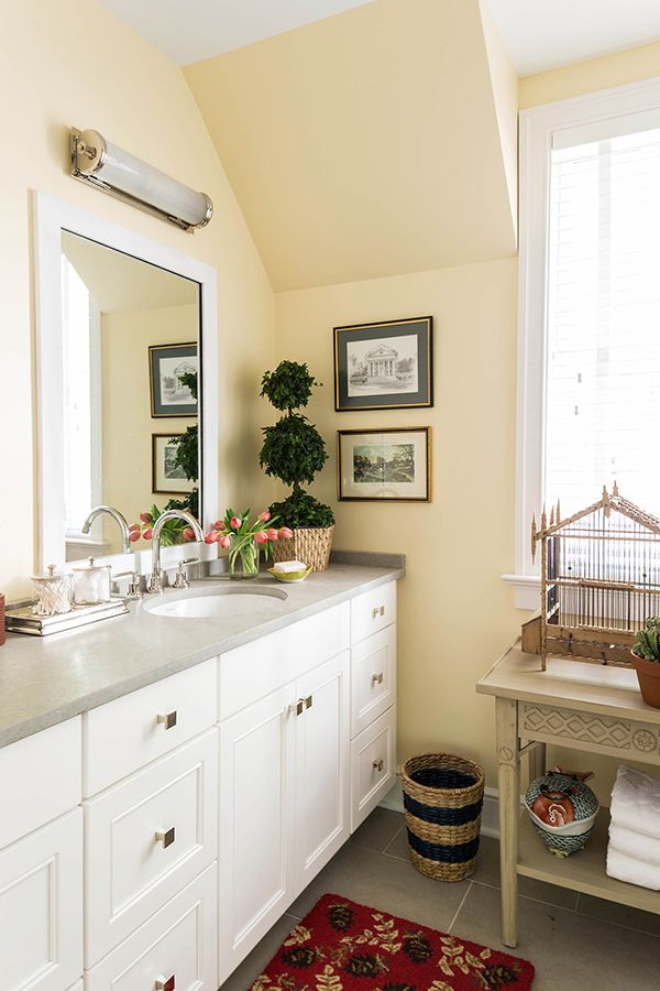 White Wellborn cabinetry in the 2015 Southern Living Idea House  boy s bath  cabinets are the. 11 best Southern Living Idea House   2015 images on Pinterest