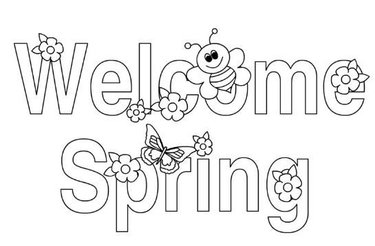 first day of spring coloring page | Spring | Bee coloring ...