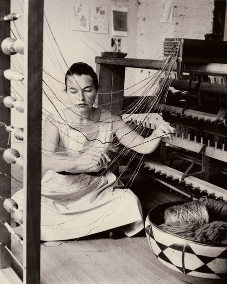 Lenore Tawney working - textile artist - was an American artist who became an influential figure in the development of fiber art.