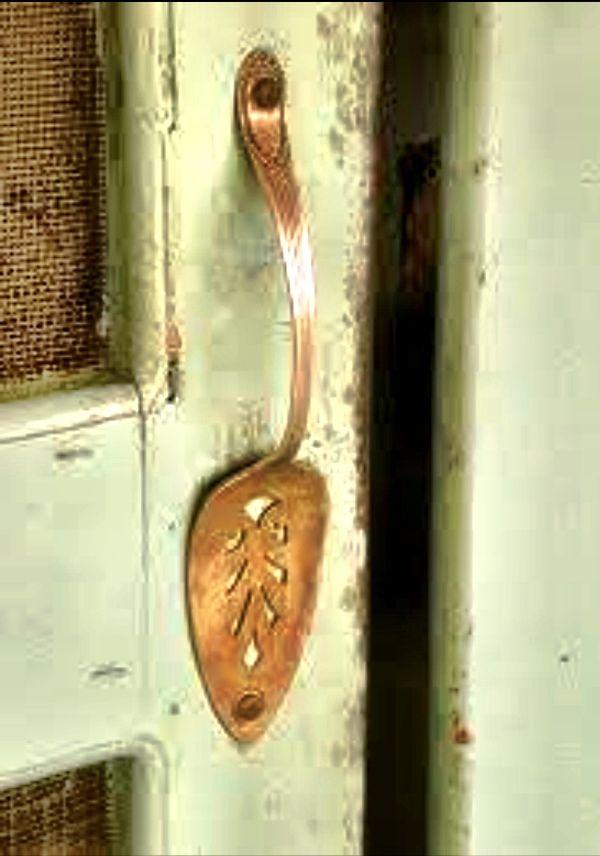 Vintage door with pie server handle, great for country style screen door, garden shed, or pantry door