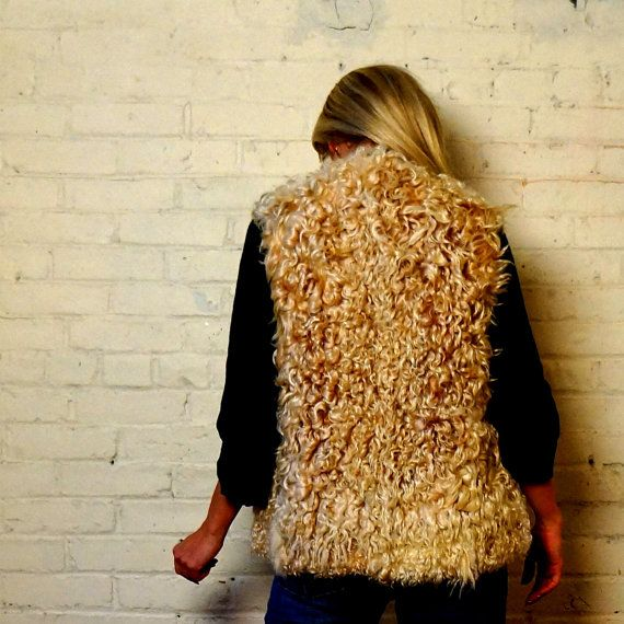 SOLD! Curly MONGOLIAN LAMB Fur Vest ROCKIN' Curly by RenegadeRevival, $189.99