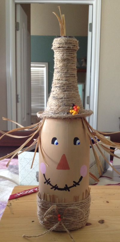 Fantastic fall and halloween ideas scarecrows bottle for How to make wine bottle crafts