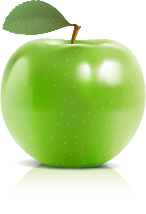 Shiny green apple vector material - Vector Food free download
