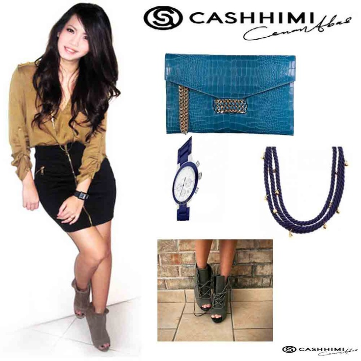 Cashhimi Dark Blue BEVERLY  Leather Clutch