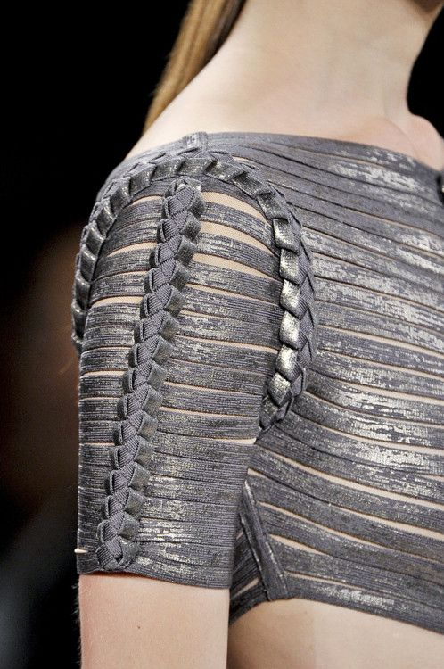 [Hervé Léger by Max Azria Spring 2012 RTW] silver asymmetrical (?) crop top made of bands, unusual plaited seams