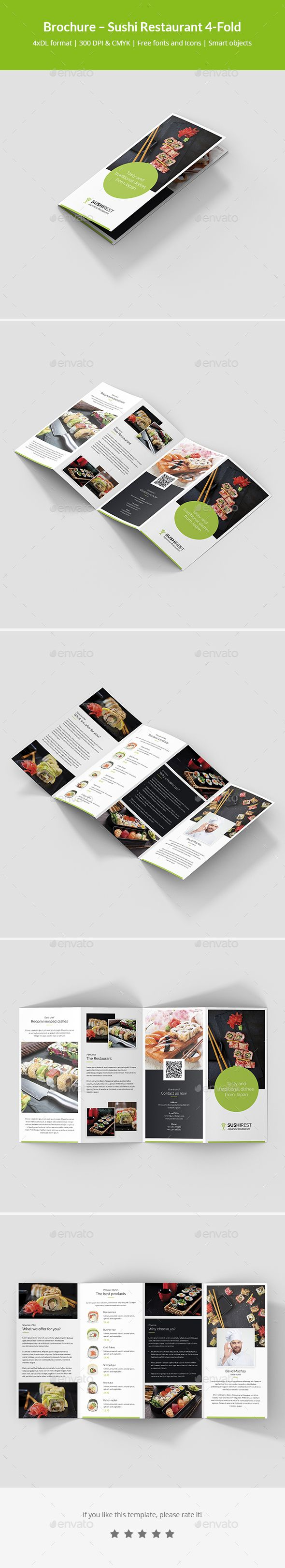 Brochure template is designed for use in many businesses. You can use this template for: restaurants, sushi, Japanese food, Chinese food, sushi catering, as well as restaurants serving pizza, kebab and other dishes. This template is fully editable. You can use different fonts, colors and backgrounds. Put your photos in the template and promote your business.