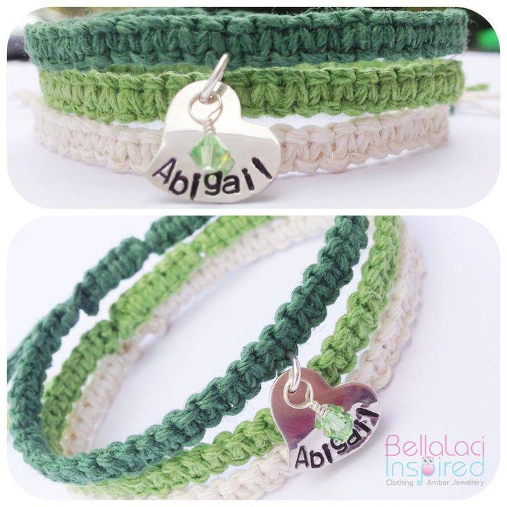 BellaLaci Boho Triple Stack bracelets in Green Ombré Hemp with Sterling Silver Handstamped Heart, and Swarovski Crystal dangle.