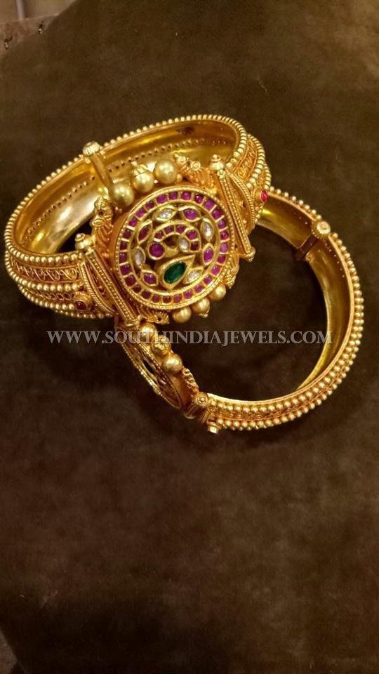 Gold Antique Kemp Kada Bangle Designs, Antique Ruby Kemp Kada Bangle Models.