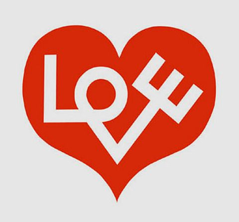 """Love Heart"""" is a testament to Girard's extraordinary skill as a designer. Alexander Girard has taken a simple graphic red heart and imposed the word love inside it, very effective."""
