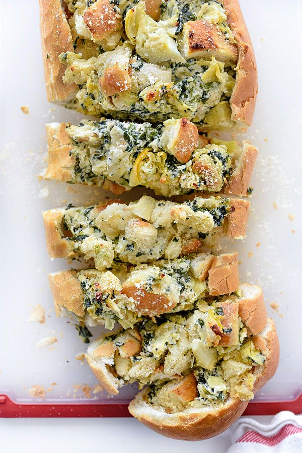 Spinach Artichoke Stuffed Bread | foodiecrush.com