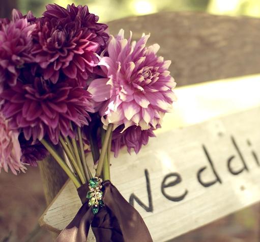 Grow Your Own Wedding Flowers: Purple Dahlia Bouquet