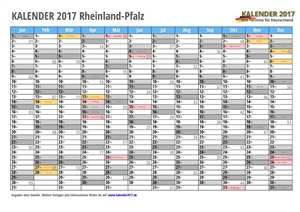 Kalender 2017 Rheinland-Pfalz Monate
