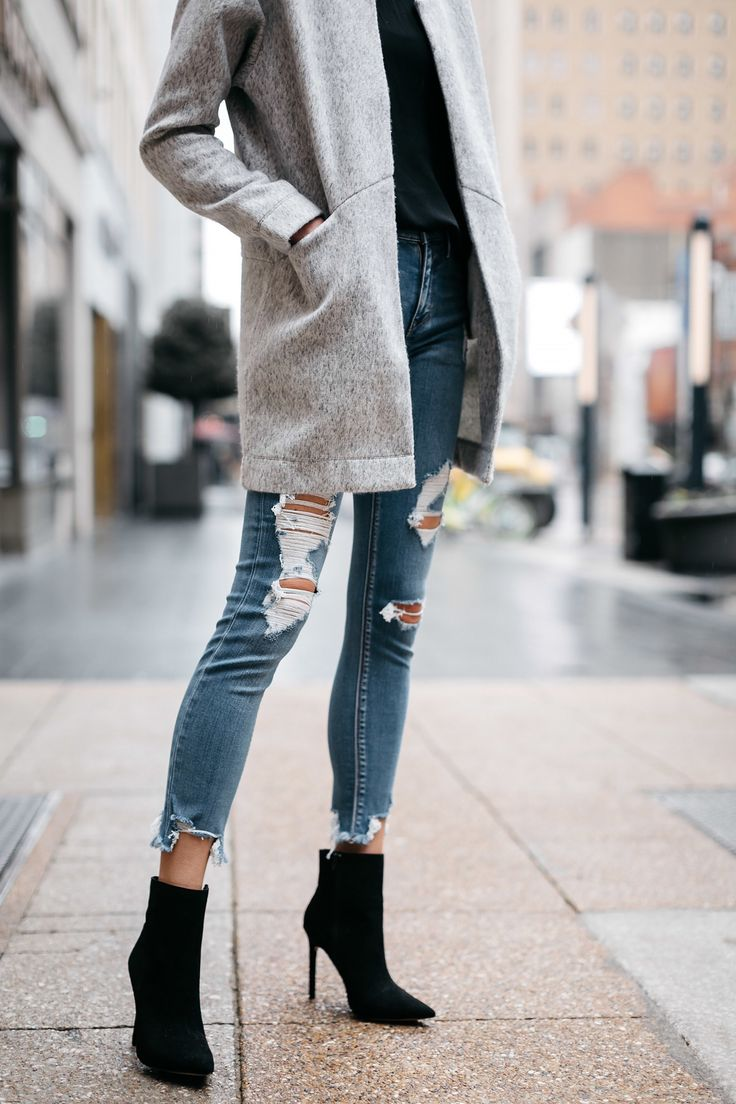 Woman Wearing Express Grey Coat Denim Ripped Skinny Jeans Black Booties Fashion Jackson Dallas Blogger Fashion Blogger Street Style