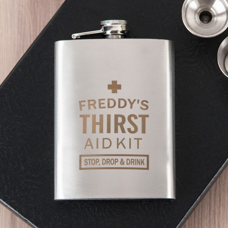 Personalised Hip Flask & Cups Travel Set - Thirst Aid Kit | GettingPersonal.co.uk