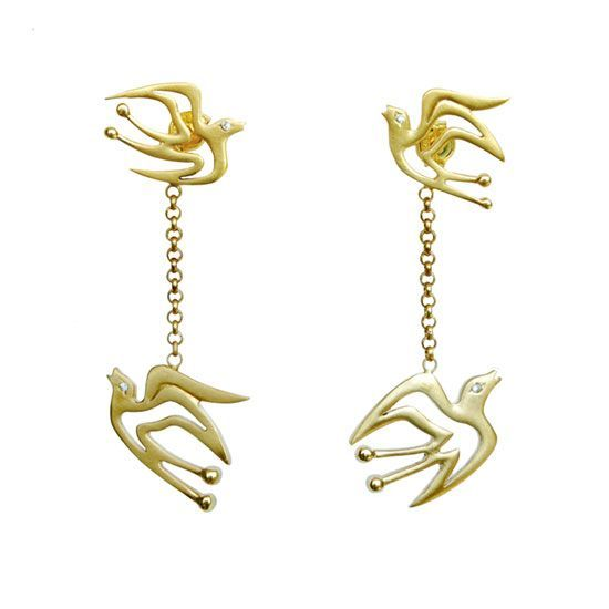 Hope Birds, gold plated silver drop earrings | my-precious.com