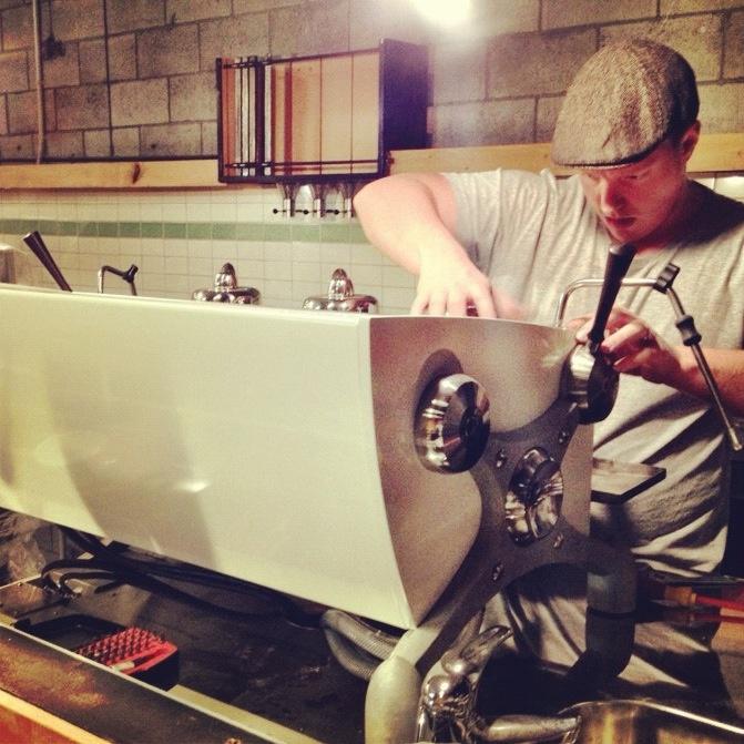 Trev setting up the ultimate espresso machine, Slayer 2.0