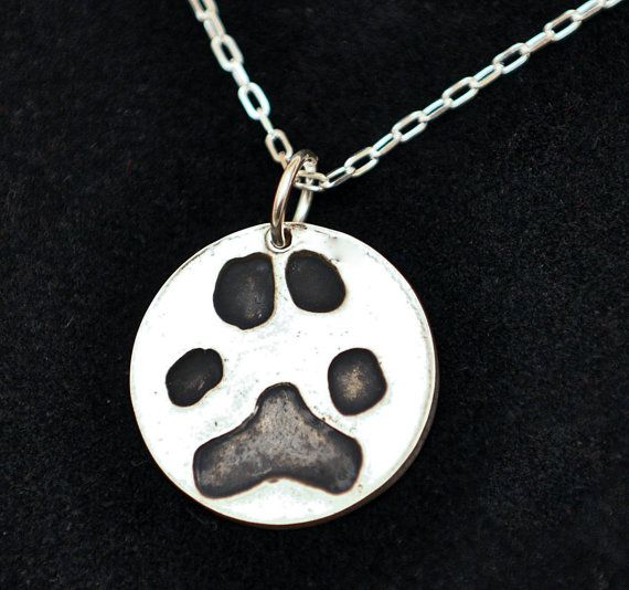Silver Cat or Dog Paw Print Pendant - Get 10% OFF with coupon code PINIT when purchasing on Etsy