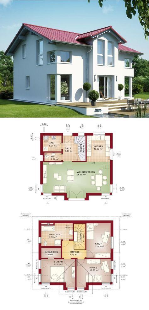 Stadthaus mit Satteldach – Haus Evolution 125 V4 Bien Zenker – Einfamilienhaus bauen Grundriss modern offene Küche – HausbauDirekt.de   – Agriceljos SRL