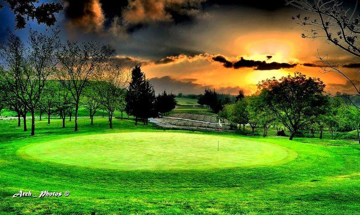 Sunrise at 2nd green Minthis Hills Golf, Tsada, Paphos, Cyprus