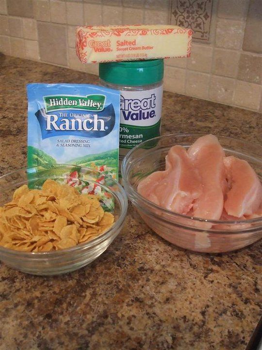 Breaded Ranch chicken: 1 cup Cornflakes 1 cup Parmesan cheese 1 Ranch envelope 1/2 cup of melted butter 4-6 breast of chicken cut in half.